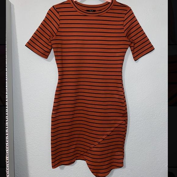 Orange and Black Striped Asymmetrical Dress!!